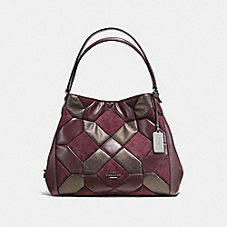 EDIE SHOULDER BAG 31 WITH CANYON QUILT - f55526 - oxblood/bronze/dark gunmetal