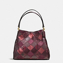 PHOEBE SHOULDER BAG IN METALLIC PATCHWORK LEATHER - f55535 - IMITATION GOLD/METALLIC CHERRY