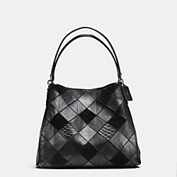 PHOEBE SHOULDER BAG IN METALLIC PATCHWORK LEATHER - f55535 - SILVER/BLACK/GUNMETAL