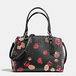 COACH F55538 Mini Christie Carryall In Halftone Floral Print Coated Canvas ANTIQUE NICKEL/BLACK MULTI