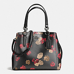 MINETTA CROSSBODY IN HALFTONE FLORAL PRINT COATED CANVAS - f55539 - ANTIQUE NICKEL/BLACK MULTI