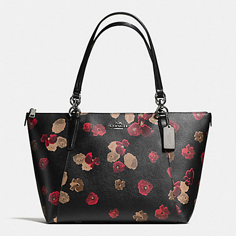 7f082378e9b1 COACH f55541 AVA TOTE IN HALFTONE FLORAL PRINT COATED CANVAS ANTIQUE  NICKEL BLACK MULTI