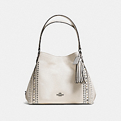 COACH EDIE SHOULDER BAG 31 IN PEBBLE LEATHER WITH WESTERN RIVETS - DARK GUNMETAL/CHALK - F55544