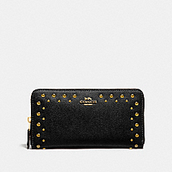 ACCORDION ZIP WALLET WITH STUDS - F55610 - BLACK/IMITATION GOLD