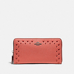 ACCORDION ZIP WALLET WITH STUDS - F55610 - CORAL/SILVER