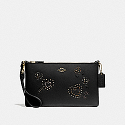 LARGE WRISTLET 25 WITH HEART BANDANA RIVETS - F55614 - BLACK/MULTI/IMITATION GOLD