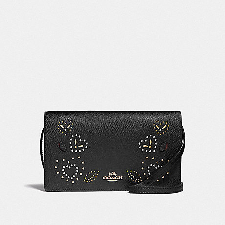 COACH F55615 HAYDEN FOLDOVER CROSSBODY CLUTCH WITH HEART BANDANA RIVETS<br>蔻驰海登边斜背离合器与心头巾铆钉 黑/MULTI/仿金