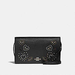 HAYDEN FOLDOVER CROSSBODY CLUTCH WITH HEART BANDANA RIVETS - F55615 - BLACK/MULTI/IMITATION GOLD