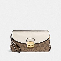COACH F55618 Flap Clutch KHAKI MULTI /IMITATION GOLD
