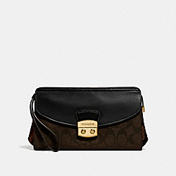 COACH F55618 Flap Clutch BROWN BLACK/MULTI/IMITATION GOLD