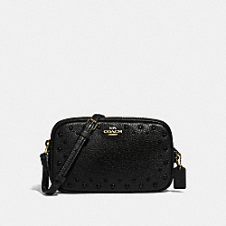 COACH F55619 - CROSSBODY POUCH WITH STUDS BLACK/IMITATION GOLD