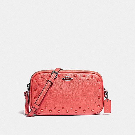 COACH F55619 CROSSBODY POUCH WITH STUDS CORAL/SILVER