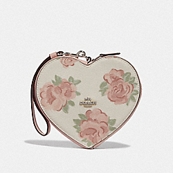 HEART WRISTLET WITH JUMBO FLORAL PRINT - F55624 - CHALK/PETAL MULTI/SILVER