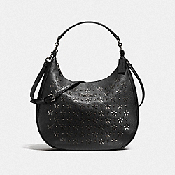 COACH F55632 - HARLEY HOBO WITH FLORAL STUDS ANTIQUE NICKEL/BLACK