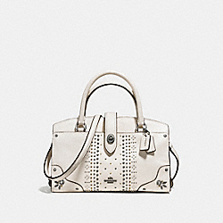 COACH MERCER SATCHEL 24 IN GRAIN LEATHER WITH BANDANA RIVETS - DARK GUNMETAL/CHALK - F55634