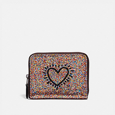 COACH F55639 KEITH HARING SMALL ZIP AROUND WALLET MULTI/BLACK-ANTIQUE-NICKEL