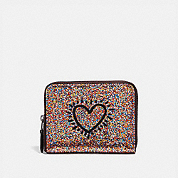 COACH F55639 Keith Haring Small Zip Around Wallet MULTI/BLACK ANTIQUE NICKEL
