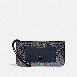 COACH F55642 Zip Top Wallet RAINBOW MULTI/BLACK ANTIQUE NICKEL