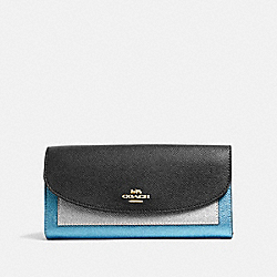 COACH F55646 Slim Envelope Wallet In Colorblock MIDNIGHT MULTI/IMITATION GOLD
