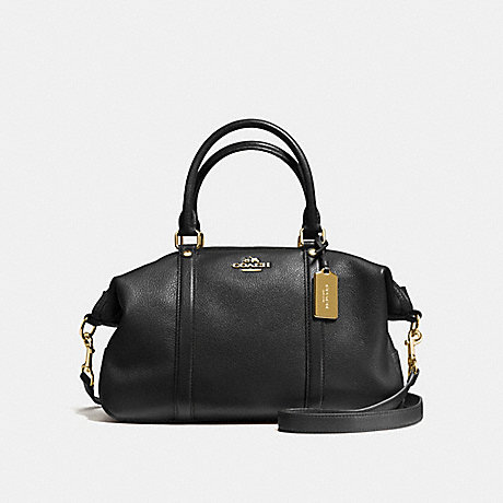 COACH CENTRAL SATCHEL IN PEBBLE LEATHER - IMITATION GOLD/BLACK - f55662