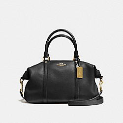 CENTRAL SATCHEL IN PEBBLE LEATHER - f55662 - IMITATION GOLD/BLACK