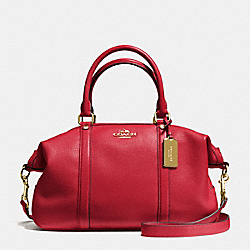 CENTRAL SATCHEL IN PEBBLE LEATHER - f55662 - IMITATION GOLD/TRUE RED