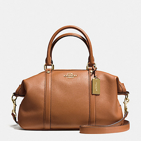 COACH CENTRAL SATCHEL IN PEBBLE LEATHER - IMITATION GOLD/SADDLE - f55662