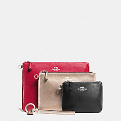 COACH F55671 - POUCH TRIO IN CROSSGRAIN LEATHER SILVER/MULTI