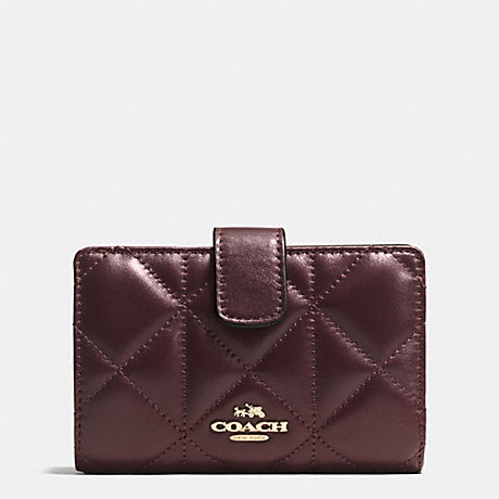 COACH f55673 MEDIUM ZIP AROUND WALLET IN QUILTED LEATHER IMITATION GOLD/OXBLOOD 1