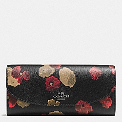 COACH F55675 Slim Envelope Wallet In Halftone Floral Print Coated Canvas ANTIQUE NICKEL/BLACK MULTI
