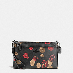 WRISTLET WITH POP UP POUCH IN HALFTONE FLORAL PRINT COATED CANVAS - f55683 - ANTIQUE NICKEL/BLACK MULTI