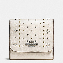 COACH F55720 Small Wallet In Polished Pebble Leather With Bandana Rivets DARK GUNMETAL/CHALK