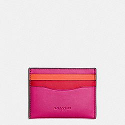 COACH F55721 - FLAT CARD CASE IN COLORBLOCK LEATHER DARK GUNMETAL/CERISE/RED/VINTAGE ORANGE