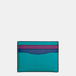 COACH F55721 - FLAT CARD CASE IN COLORBLOCK LEATHER DARK GUNMETAL/TURQUOISE/DENIM/AUBERGINE