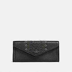 SOFT WALLET IN POLISHED PEBBLE LEATHER WITH BANDANA RIVETS - f55723 - DARK GUNMETAL/BLACK