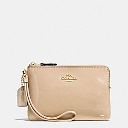COACH F55739 Boxed Corner Zip Wristlet In Smooth Patent Leather IMITATION GOLD/PLATINUM