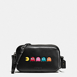 COACH F55743 Pac Man Crossbody Pouch In Calf Leather ANTIQUE NICKEL/BLACK