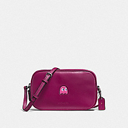 PAC MAN CROSSBODY POUCH IN CALF LEATHER - f55743 - BLACK ANTIQUE NICKEL/FUCHSIA