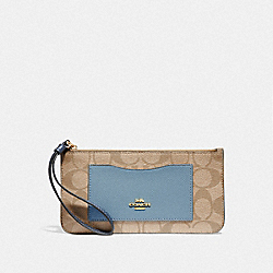COACH F55762 Zip Top Wallet In Colorblock Signature Canvas LIGHT KHAKI/MULTI/IMITATION GOLD