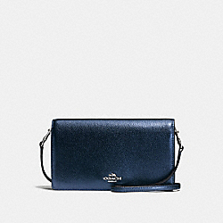 COACH F55775 Foldover Crossbody METALLIC NAVY/SILVER
