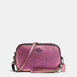 CROSSBODY CLUTCH IN HOLOGRAM LEATHER - f55806 - DARK GUNMETAL/HOLOGRAM