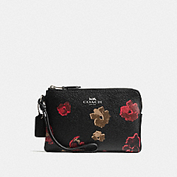 COACH F55824 Corner Zip Wristlet In Halftone Floral Print Coated Canvas ANTIQUE NICKEL/BLACK MULTI