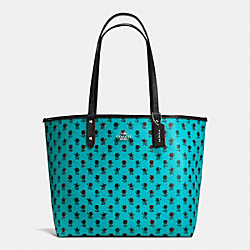 COACH F55863 Reversible City Tote In Badlands Floral Print Canvas SILVER/TURQUOISE MULTI BLACK