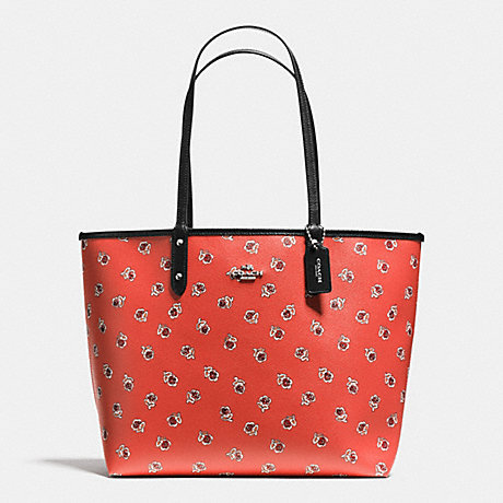 COACH f55864 REVERSIBLE CITY TOTE IN SIENNA ROSE FLORAL PRINT CANVAS SILVER/WATERMELON MULTI/BLACK