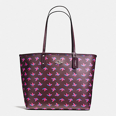 COACH F55870 REVERSIBLE CITY TOTE IN HAPPY BIRD PRINT CANVAS SILVER/BURGUNDY-MULTI-OXBLOOD-1