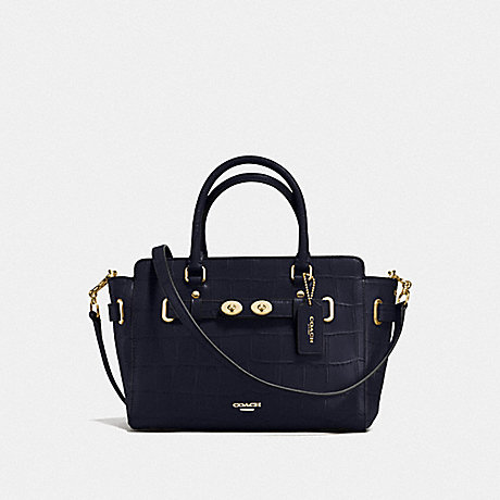 COACH f55876 BLAKE CARRYALL 25 IN CROC EMBOSSED LEATHER IMITATION GOLD/MIDNIGHT
