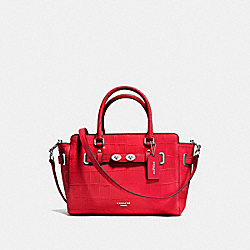 BLAKE CARRYALL 25 IN CROC EMBOSSED LEATHER - f55876 - SILVER/BRIGHT RED