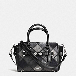 MINI BLAKE CARRYALL IN METALLIC PATCHWORK LEATHER - f55878 - SILVER/GUNMENTAL BLACK