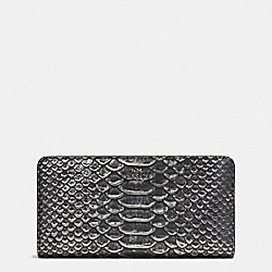 COACH F55906 Skinny Wallet In Exotic Embossed Leather DARK GUNMETAL/BLACK