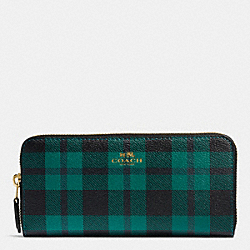 COACH F55933 Accordion Zip Wallet In Riley Plaid Coated Canvas IMITATION GOLD/ATLANTIC MULTI